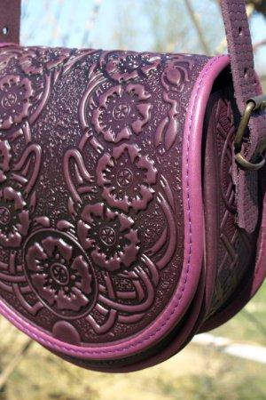 сумка  шкіряна Маки фіолет